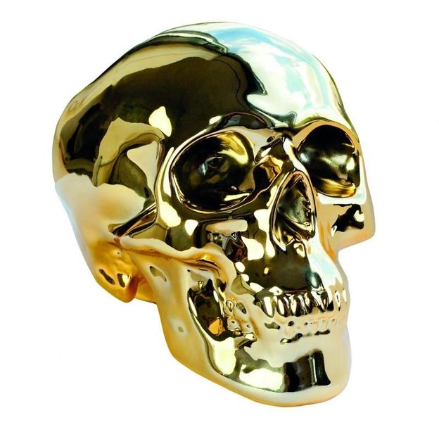 Spardose Totenkopf gold