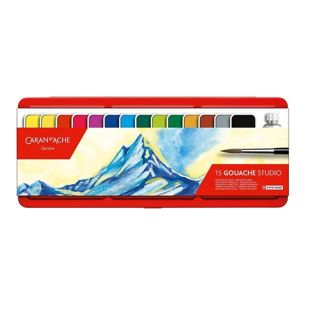 Caran d'Ache Gouache Studio aquarelles 15 couleurs