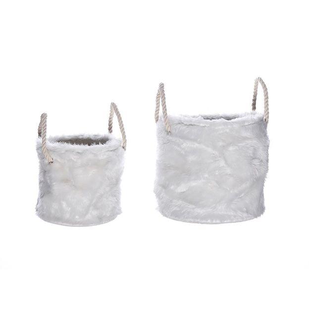 Corbeilles fourrure blanche Aspen - paire petit