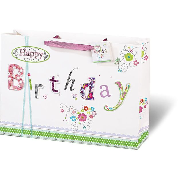 Sac cadeau Happy Birthday lettres fleuries
