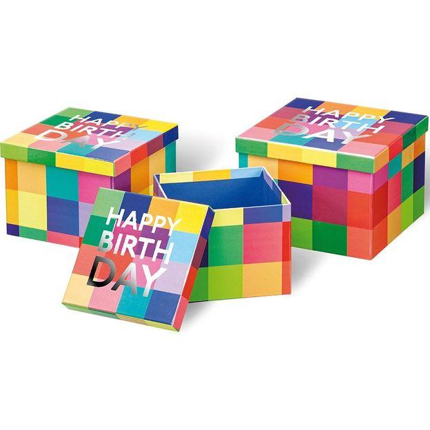 Geschenkbox 3-er Set Happy Birthday Karo