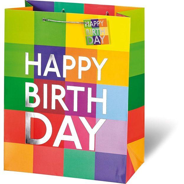 Sac cadeau Happy Birthday à carreaux