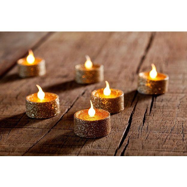Set de bougies chauffe-plat pailletées à LED dorées