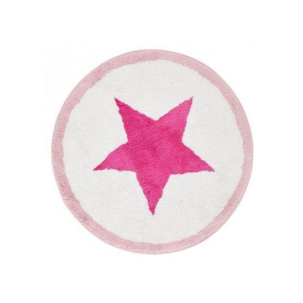 Badematte Stern weiss/pink/rosa