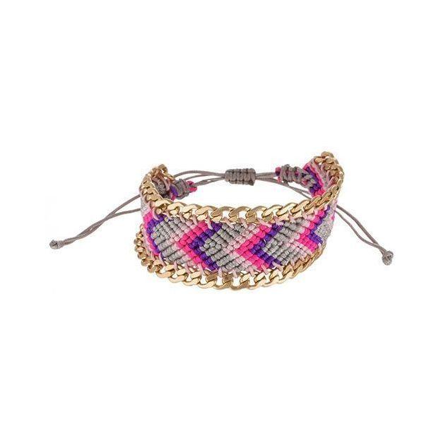 Bracelet d'amitié en fil de nylon coloré / or
