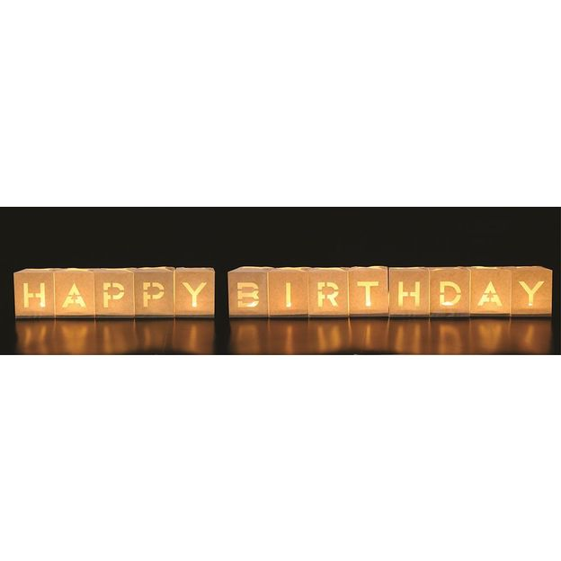Set de 13 sacs à bougies Happy Birthday