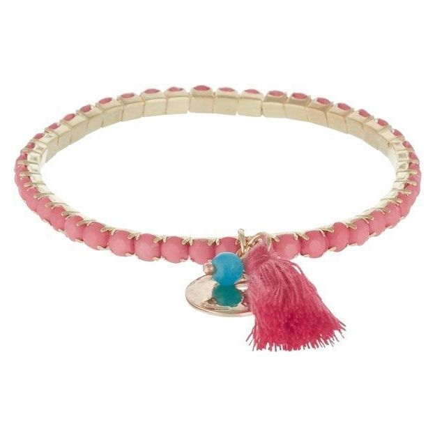 Armband Primavera mit Glassteinen - koral/gold