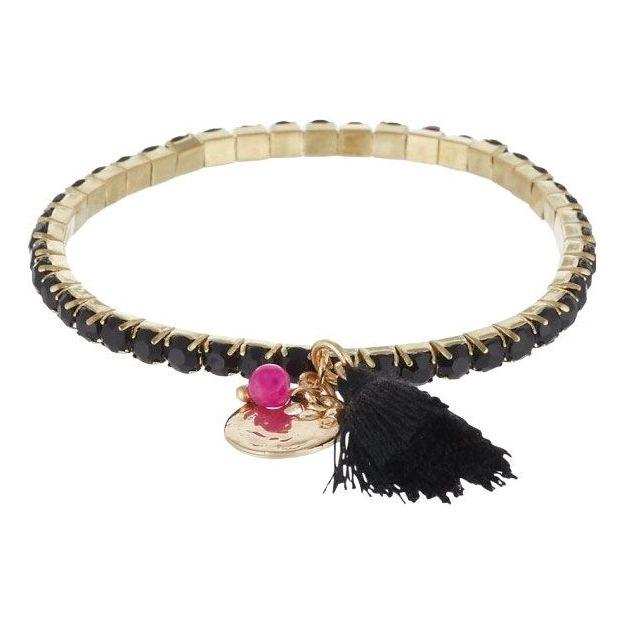 Armband Primavera mit Glassteinen - schwarz/gold