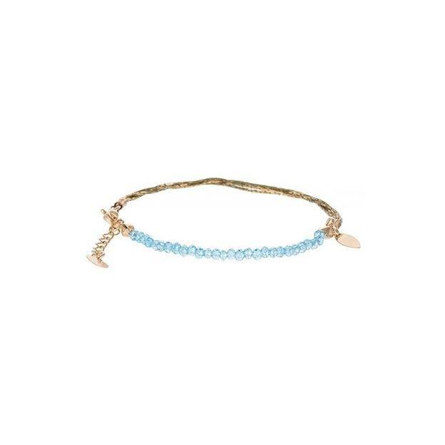 Feines Armband aus Goldketten und Glasperlen - hellblau