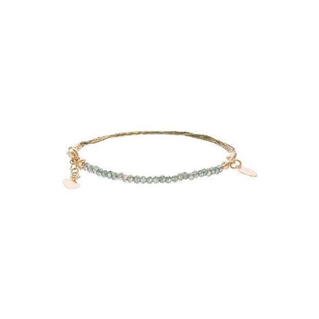 Feines Armband aus Goldketten und Glasperlen - anthrazitfarben