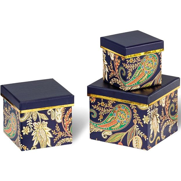 Set de 3 box cadeaux style Paisley