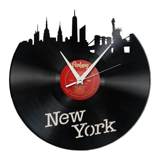 Schallplatten Wanduhr - New York