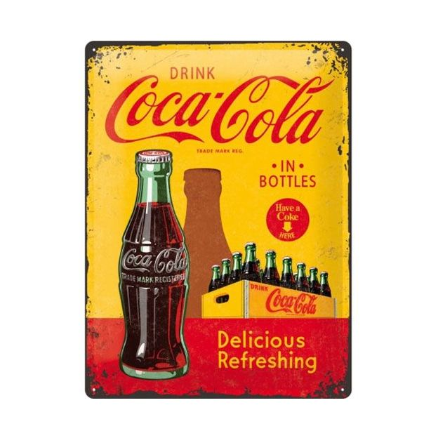Plaque pub rétro Coca Cola 1930/40 - Yellow in Bottles