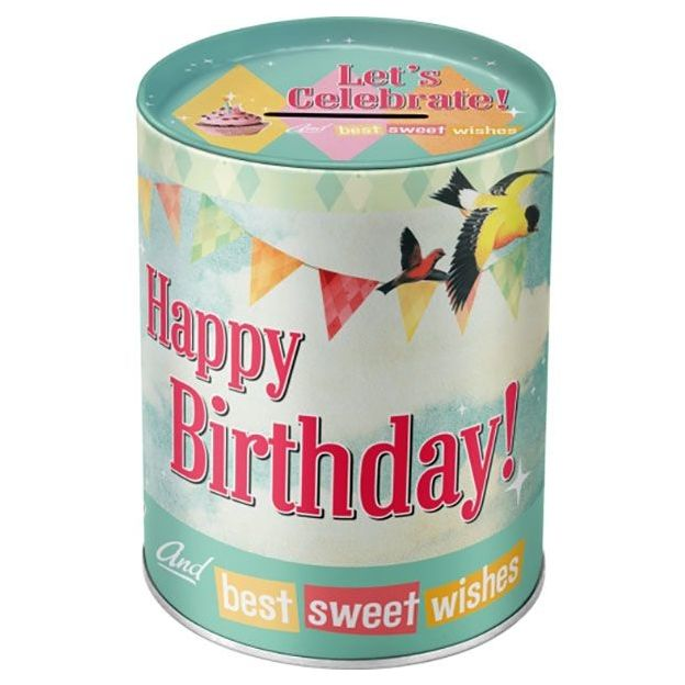 Tirelire rétro Happy Birthday Birds