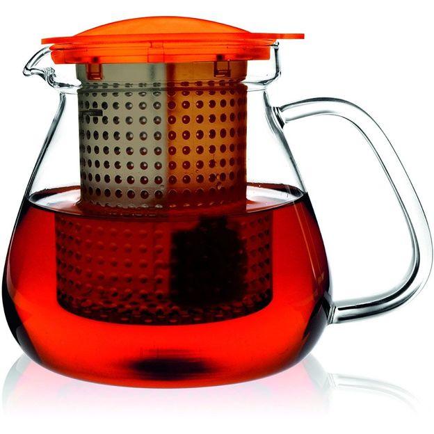 1 Liter Glas Teekanne inkl. Edelstahl Stövchen