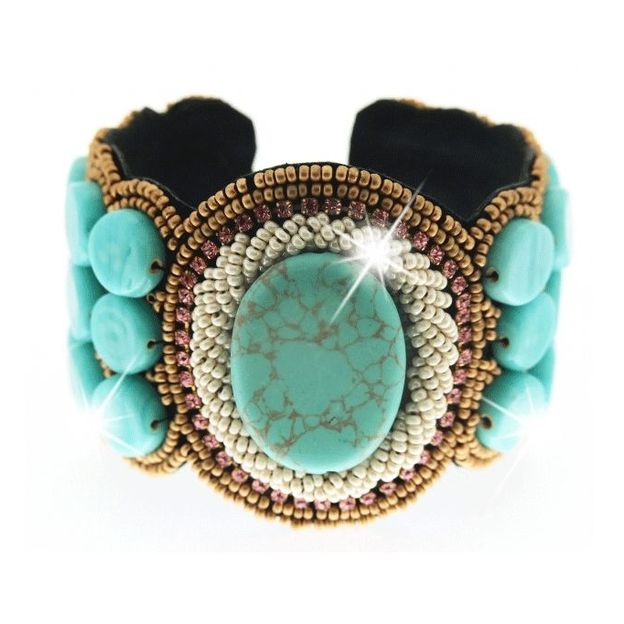 Bracelet manchette Salerno turquoise