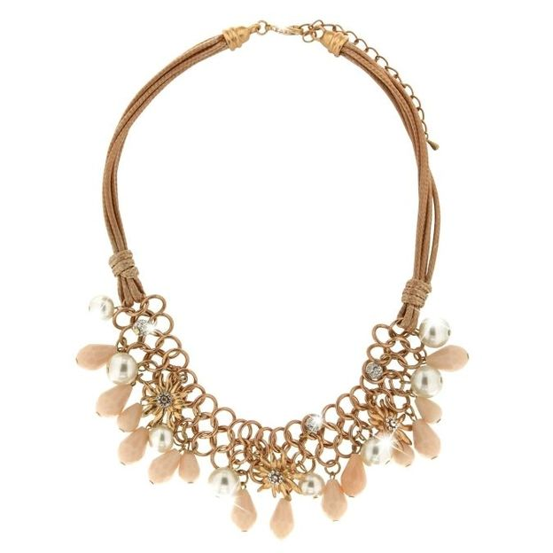 Wiesn Halskette elegant mattgold/peach/pearl