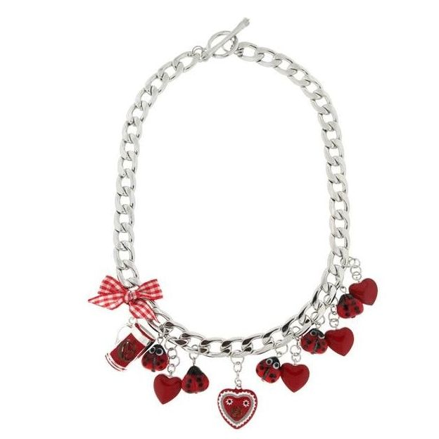 Collier Wiesn Coccinelles argent/rouge
