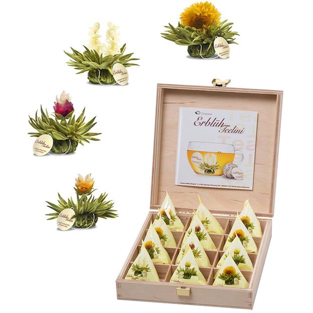 Coffret fleurs de thé Erblüh blanc Pyramides