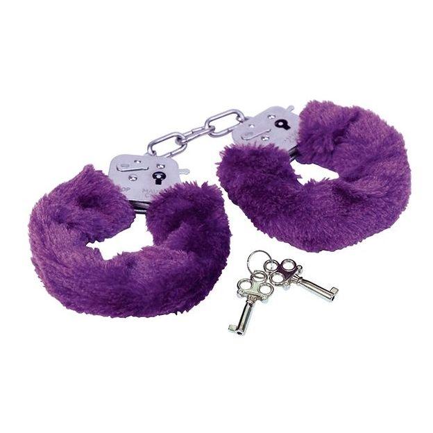 Plüsch Handschellen violett
