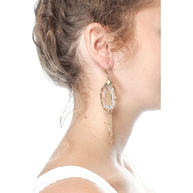 Boucles d'oreilles Lia - agate pompon