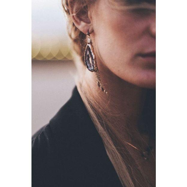 Ohrringe Lia - agate pompon