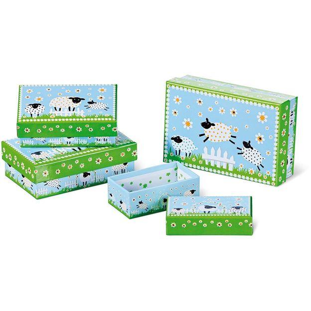 Set de 4 boîtes cadeau moutons