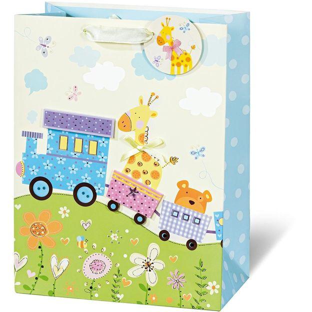 Pochette cadeau animaux et train