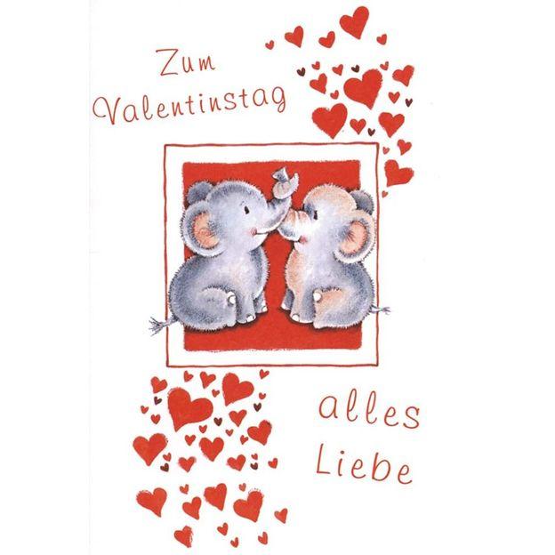 Valentinstag Elefäntchen Grusskarte