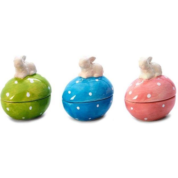 Porzellan-Eier mit Häschen Decke 3er Set