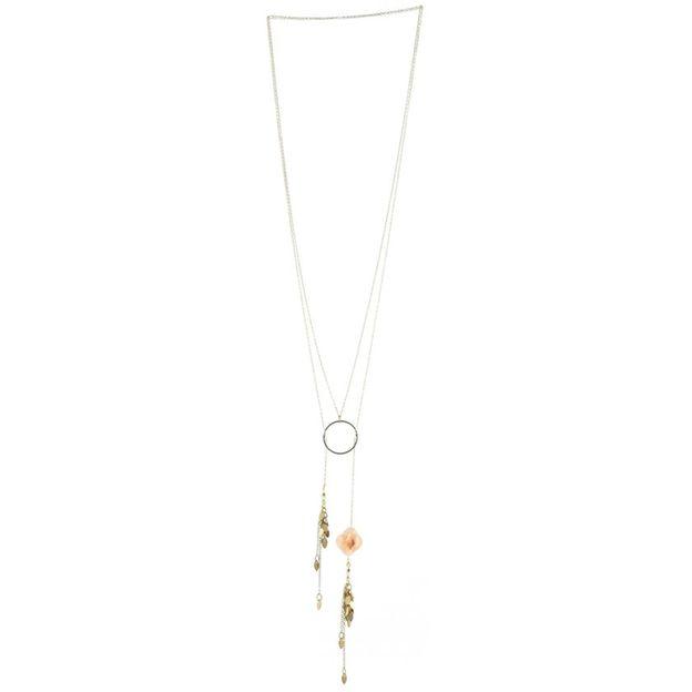 Collier Ondine - Sautoir rond et fleur rose