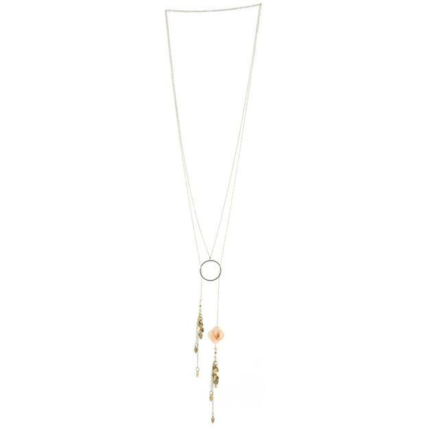 Halskette Ondine - Sautoir rond et fleur rose