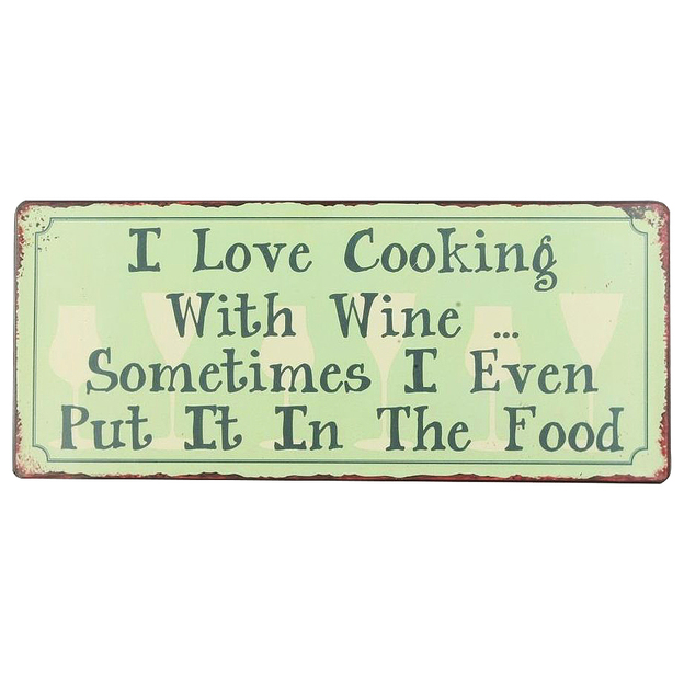 Affiche en métal I Love Cooking With Wine