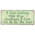 Affiche en métal I Love Cooking With Wine
