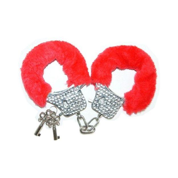 Handschellen mit Strasssteinen Plüsch Rot