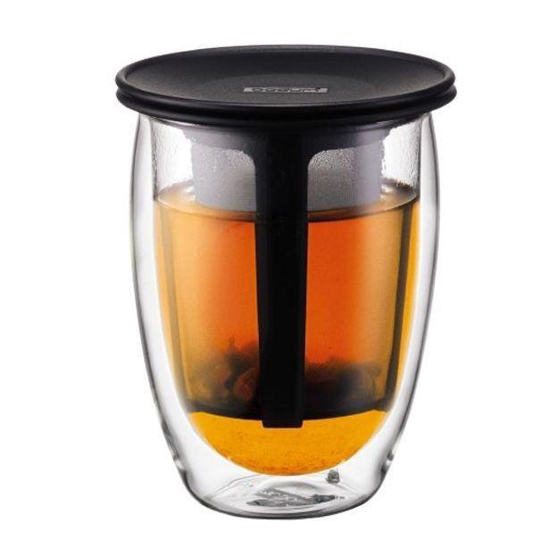 Doppelwandiges Teeglas mit Kunsstofffilter Schwarz