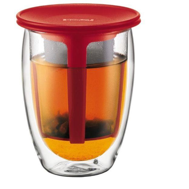 Doppelwandiges Teeglas mit Kunsstofffilter Rot