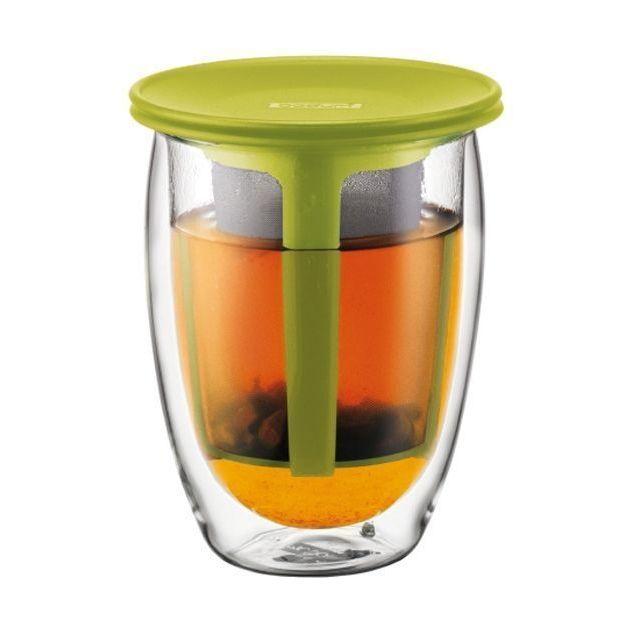 Doppelwandiges Teeglas mit Kunsstofffilter Limettengrün