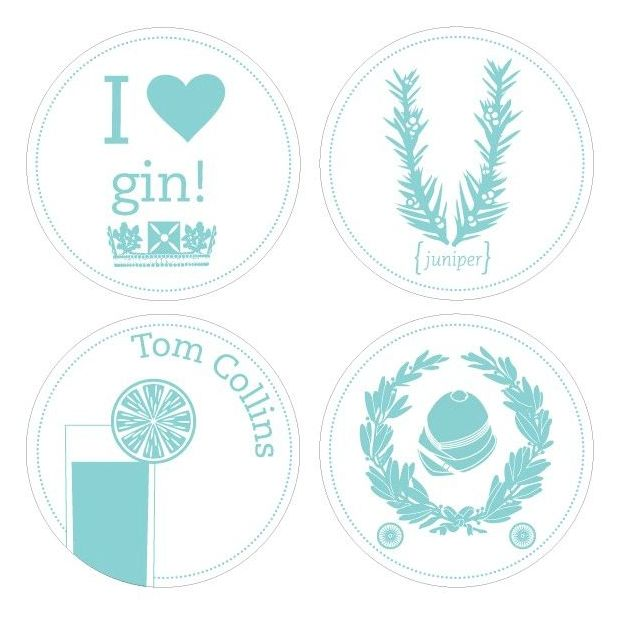 Sous-verres à motifs recto-verso Gin