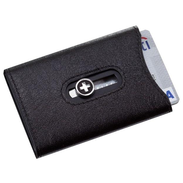 SWISSWALLET Kartenhalter mit Nappaleder und Geldnoten-Clip schwarz