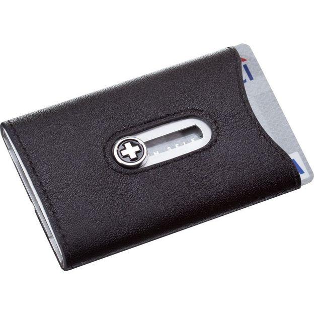 SWISSWALLET Kartenhalter mit Nappaleder und Geldnoten-Clip silber