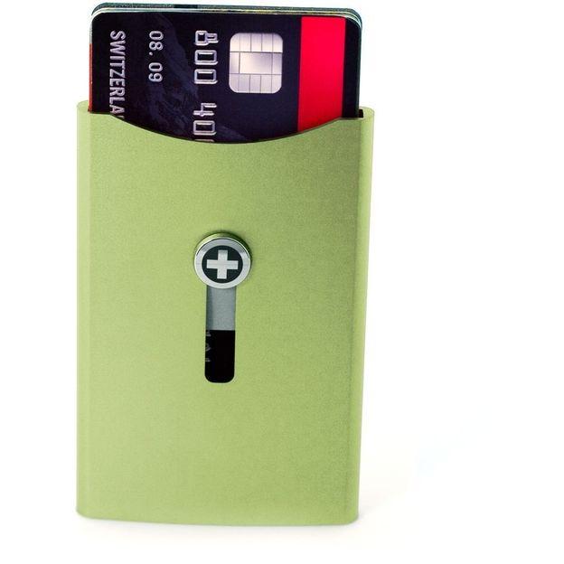 SWISSWALLET Kartenhalter mit Geldnoten-Clip grün