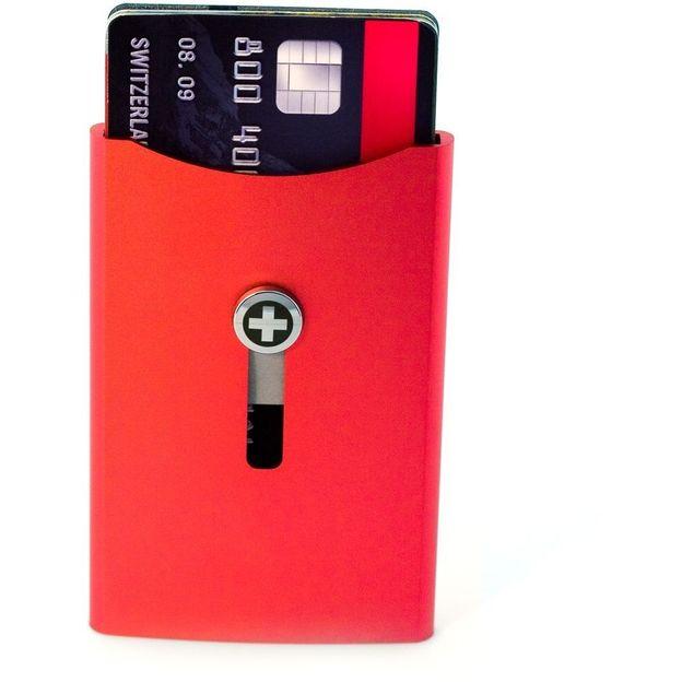 SWISSWALLET Kartenhalter mit Geldnoten-Clip rot