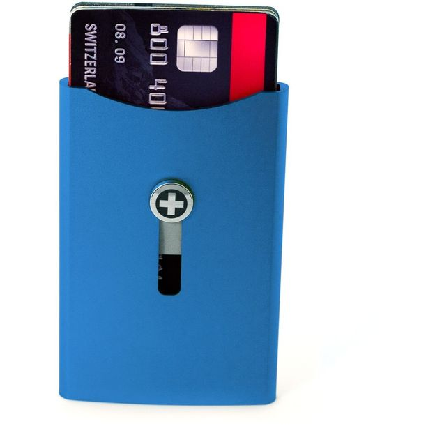 SWISSWALLET Kartenhalter mit Geldnoten-Clip blau