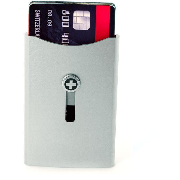 SWISSWALLET Kartenhalter mit Geldnoten-Clip silber