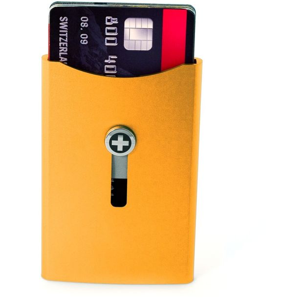 Kartenhalter mit Geldnoten-Clip orange