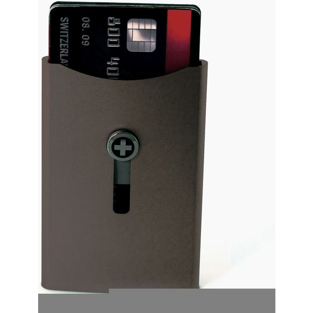 SWISSWALLET Kartenhalter mit Geldnoten-Clip bronze