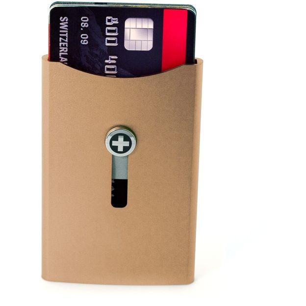 Kartenhalter mit Geldnoten-Clip braun