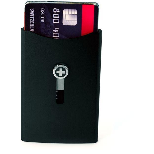 SWISSWALLET Kartenhalter mit Geldnoten-Clip schwarz