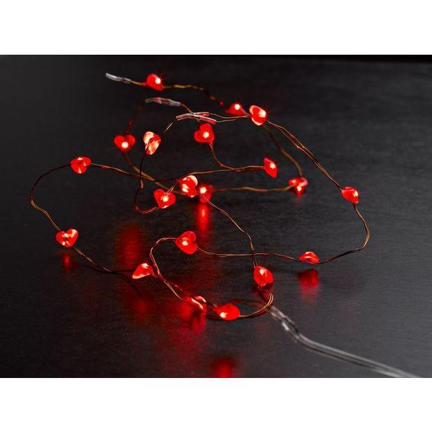Guirlande lumineuse fil de coeurs rouge